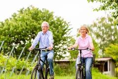 Aînés s'exerçant avec la bicyclette Photos stock