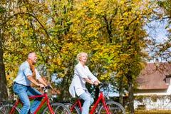 Aînés sur des bicyclettes ayant la visite dans le parc Photos libres de droits