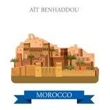 Aït Benhaddou in Marocco. Flat cartoon vector ill. Aït Benhaddou in Marocco. Flat cartoon style historic sight showplace attraction web site vector Stock Photos