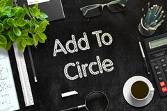 Añada al círculo - texto en la pizarra negra representación 3d Fotografía de archivo libre de regalías