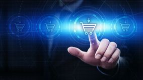 Añada al concepto en línea de la compra de la tienda del web de Internet del carro Imagenes de archivo