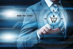 Añada al concepto en línea del comercio electrónico de la compra de la tienda del web de Internet del carro Foto de archivo