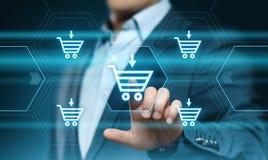 Añada al concepto en línea del comercio electrónico de la compra de la tienda del web de Internet del carro Imagenes de archivo