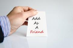 Añada como concepto del texto del amigo Imagenes de archivo