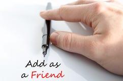 Añada como concepto del texto del amigo Fotos de archivo libres de regalías