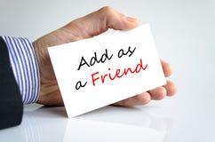 Añada como concepto del texto del amigo Imagen de archivo
