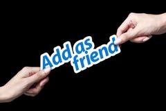 Añada como icono del amigo Imagen de archivo libre de regalías