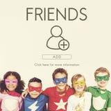 Añada concepto gráfico social de los amigos el medios Foto de archivo libre de regalías