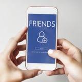 Añada concepto gráfico social de los amigos el medios Foto de archivo