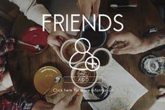 Añada concepto gráfico social de los amigos el medios Imagen de archivo
