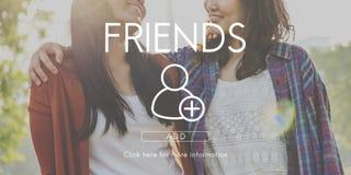 Añada concepto gráfico social de los amigos el medios Fotografía de archivo