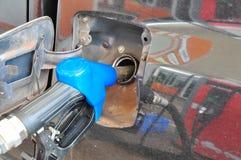 Añada el aceite combustible al coche en el surtidor de gasolina con un dispensador selec Imagen de archivo