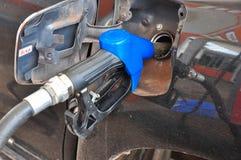 Añada el aceite combustible al coche en el surtidor de gasolina con un dispensador selec Imagenes de archivo