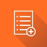 Añada el ejemplo plano del vector del icono de documento de la lista Fotografía de archivo