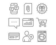 Añada el usuario, los iconos del blog y del accesorio Sorprenda el regalo, las estadísticas del sitio web y las muestras de la ta Stock de ilustración