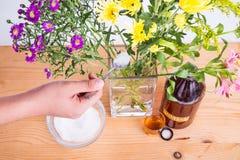 Añada el vinagre y el azúcar de sidra de manzana para mantener las flores más frescas Imagen de archivo libre de regalías