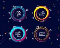 Añada la compra, la charla de la persona y los iconos de los recursos humanos Muestra del diagrama de las ventas Stock de ilustración