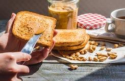 Añada a la mantequilla de cacahuete rubicunda de la tostada, mano, desayuno delicioso Fotos de archivo libres de regalías