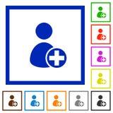 Añada los iconos planos enmarcados nuevo usuario Foto de archivo