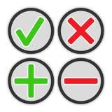 Añada, los iconos suprima, de la cruz y de la marca de verificación Foto de archivo libre de regalías