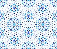 Añil Dots Blue Flower Pattern Foto de archivo libre de regalías