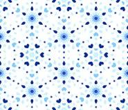 Añil Dots Hearts Blue Flower Pattern Imagen de archivo