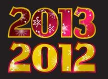 Año 2012, vector del año 2013 Imágenes de archivo libres de regalías