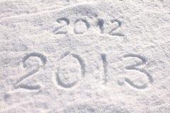 Año 2013 escrito en nieve Imagen de archivo libre de regalías