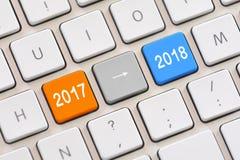 Año 2017 a año 2018 en el teclado Fotos de archivo libres de regalías