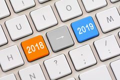Año 2018 a año 2019 en el teclado Imagen de archivo