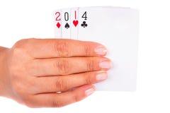 Año afortunado 2014 en tarjetas Fotos de archivo