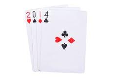 Año afortunado 2014 en tarjetas Imagenes de archivo