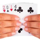 Año afortunado 2014 en tarjetas Imagen de archivo libre de regalías