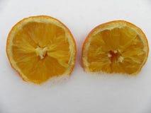 Año anaranjado de la nieve del invierno Foto de archivo