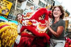 Año chino feliz de la demostración del león Imagenes de archivo