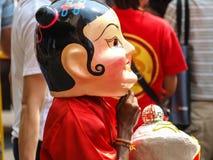 Año chino feliz de la muchacha de la máscara Imágenes de archivo libres de regalías