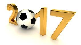 Año 2017 con el balón de fútbol Foto de archivo libre de regalías