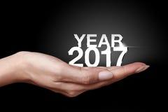 Año 2017 con la mano Foto de archivo