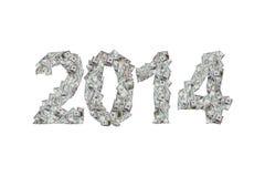 Año 2014 con los billetes de banco del dólar Foto de archivo