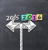 Año 2015 contra las condiciones 2016 o las expectativas de negocio Foto de archivo libre de regalías