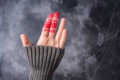 Año de Art Friends Celebrates Christmas New del finger Fotos de archivo