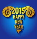 Año de la cabra en fondo azul Foto de archivo libre de regalías