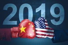 Año de la guerra comercial de América y de China en 2019 fotografía de archivo libre de regalías