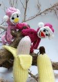 Año de mono, juguete hecho punto, símbolo, hecho a mano Imagen de archivo