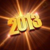 Año de oro 2013 con los rayos brillantes ilustración del vector