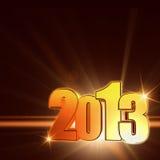 Año de oro 2013 con los rayos brillantes, fondo marrón stock de ilustración