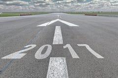 Año 2017 del aeropuerto de la pista de la flecha Foto de archivo libre de regalías