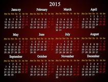 Año del calendario del clarete 2015 Fotos de archivo libres de regalías