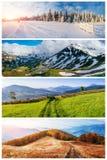Año del comparativo del collage 4 Cárpato, Ucrania, Europa Imagen de archivo