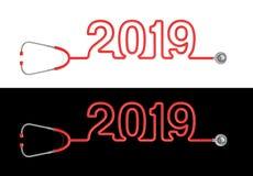 Año 2019 del estetoscopio Imagen de archivo